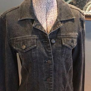 BCBGMaxAzria black denim sparkle jean jacket, M